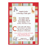 "5x7 ABC Alphabet Soup Striped Baby Shower 5"" X 7"" Invitation Card"
