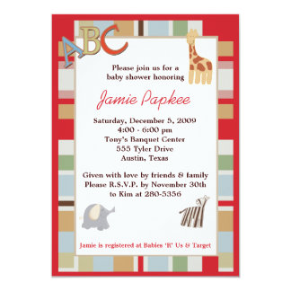5x7 ABC Alphabet Soup Striped Baby Shower 5x7 Paper Invitation Card