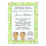 5x7 African American TWINS Baby Shower Invitation