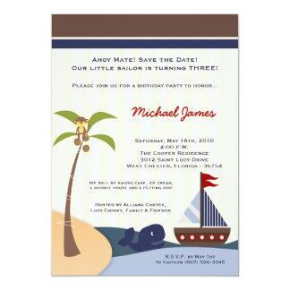 5x7 Ahoy Mate Sailboat Whale Birthday Invitation