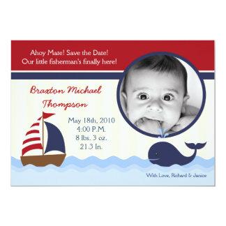 5x7 Ahoy Nautical Whale Photo Birth Announcement