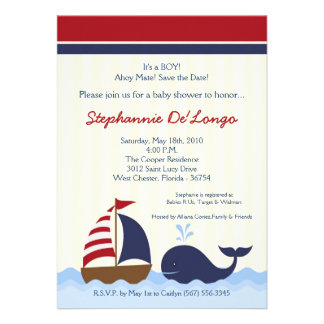 5x7 AhoyNautical Whale Boat Baby Shower Invitation Invitations