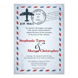 5x7 Air Mail Plane USPS Postal  Wedding Invitation