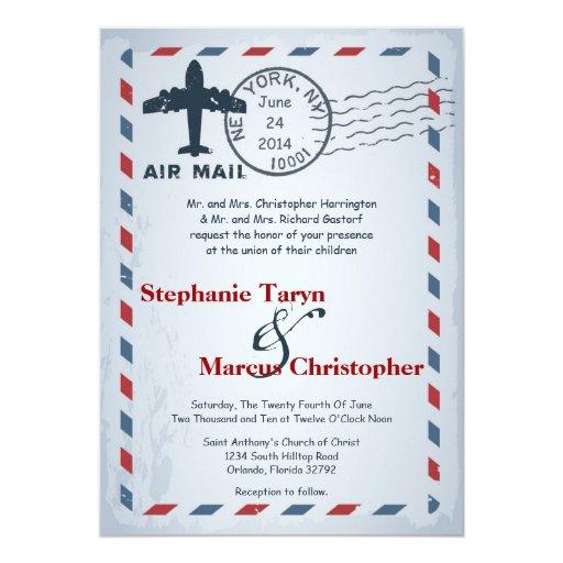 5x7 Air Mail Plane USPS Postal Wedding Invitation Zazzle