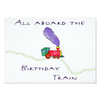 5x7 All aboard the Birthday Train Party Invitation