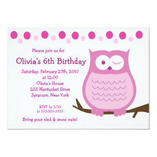 5x7 Amore Owl Pink Girl Birthday Invitation