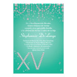 5x7 Aqua Diamond Quinceanera Birthday Invitation