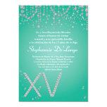 "5x7 Aqua Diamond Quinceanera Birthday Invitation 5"" X 7"" Invitation Card"