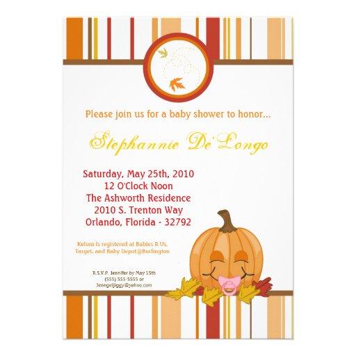 5x7 autumn fall pumpkin baby shower invitation invitations zazzle