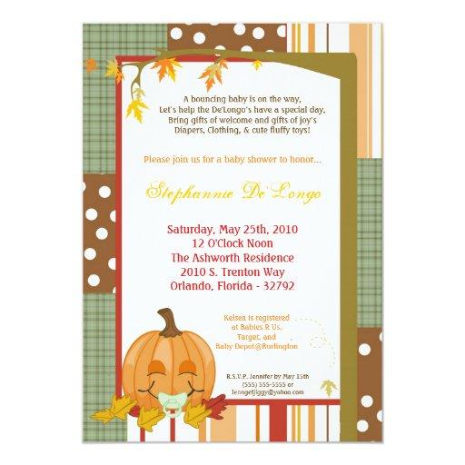 5x7 autumn fall pumpkin baby shower invitation zazzle