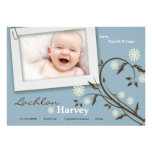 5x7 Baby Boy Blue Floral Photo Birth Announcement Card