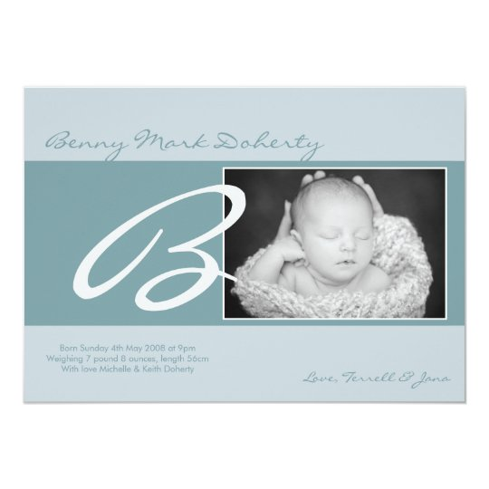 5x7 Baby Boy Blue Initial Photo Birth Announcement