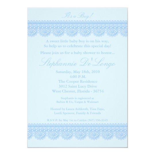 5x7 Baby Boy Blue Lace Baby Shower Invitation
