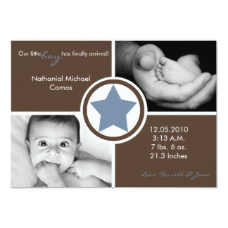 5x7 Baby Boy Blue Star Photo Birth Announcement Custom Invites