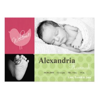 5x7 Baby Girl Pink Bird Photo Birth Announcement Cards