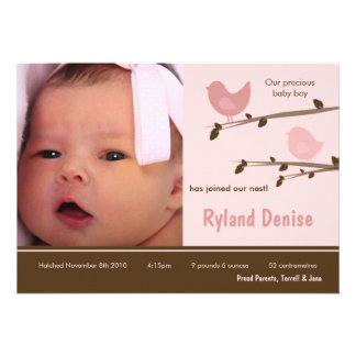 5x7 Baby Girl Pink Birds Photo Birth Announcement Personalized Invitation