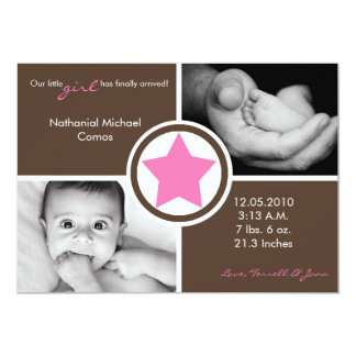 5x7 Baby Girl Pink Star Photo Birth Announcement Announcements
