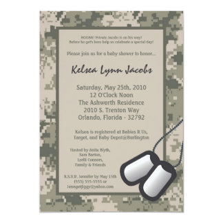 5x7 Baby Shower Invitation ARMY Camo ACU Print
