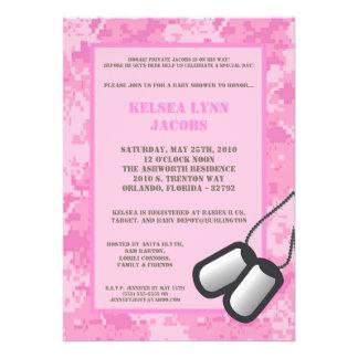 5x7 Baby Shower Invitation Pink ARMY Camo ACU Custom Announcements