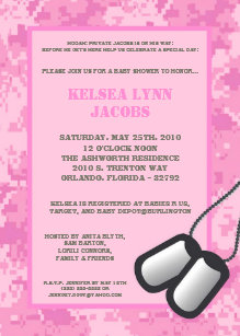 Pink army baby shower gifts on zazzle 5x7 baby shower invitation pink army camo acu filmwisefo Gallery