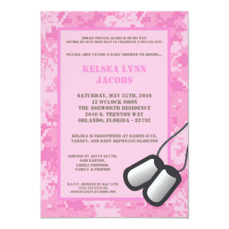5x7 Baby Shower Invitation Pink ARMY Camo ACU