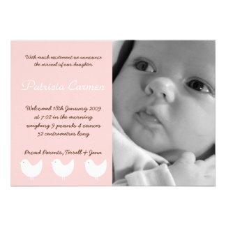 5x7 BabyGirl Pink 3 Birds Photo Birth Announcement Custom Invites
