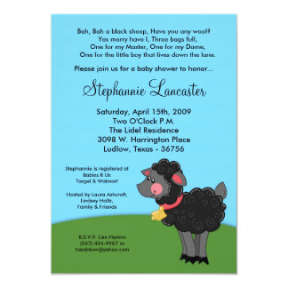 5x7 Bah Black Sheep Nursery Baby Shower Invitation