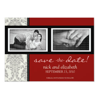 "5X7 Baroque Black/Red Two-Photo Save the Date 5"" X 7"" Invitation Card"