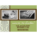 5X7 Baroque Sage/Brown Two-Photo Save the Date invitation
