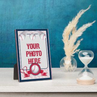 5x7 Baseball Card Frame 1-Red-White Stripe Plaque