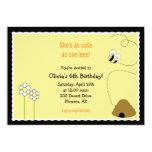5x7 Bee Happy Birthday Invitation Card