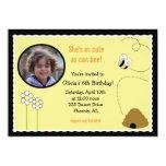 5x7 Bee Happy *PHOTO* Birthday Invitation Card