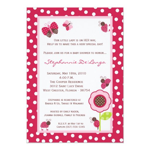 "5x7 Berry Garden Lady Bug Baby Shower Invitation 5"" X 7"" Invitation Card"