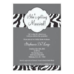 5x7 Blac Gray Zebra Stripe Brida Shower Invitation