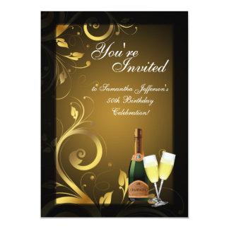 "5x7 Black and Gold Swirl, Custom Birthday Party 5"" X 7"" Invitation Card"