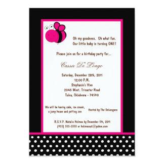 5x7 Black Bumble Bee Birthday Party Invite