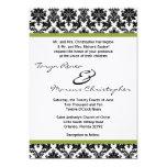 5x7 Black Damask & Green Linen Wedding Invitation