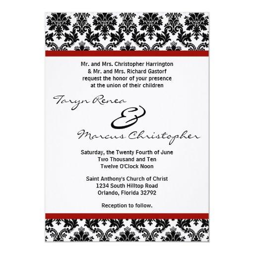 5x7 Black Damask Red Crim Linen Wedding Invitation