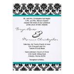 5x7 Black Damask & Teal Linen Wedding Invitation Custom Announcements