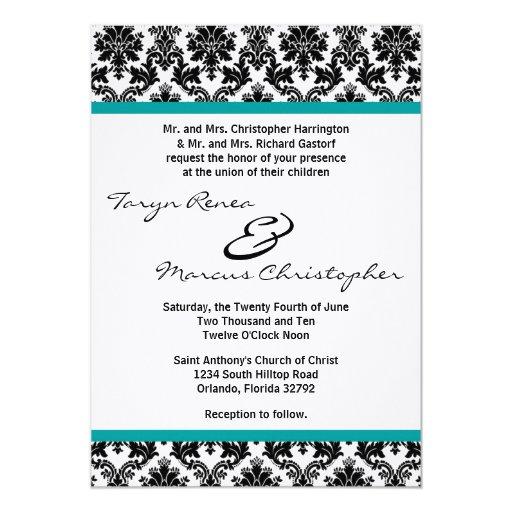 5x7 Black Damask & Teal Linen Wedding Invitation