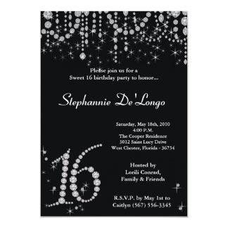 5x7 Black Diamond Sweet 16 Birthday Invitation