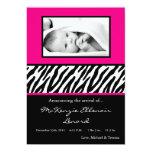 "5x7 Black Hot Pink Zebra PHOTO Birth Announcement 5"" X 7"" Invitation Card"