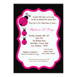 5x7 Black Lady Bug Baby Shower Personalized Announcement