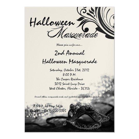 5x7 Black Masquerade Halloween Costume Invitation