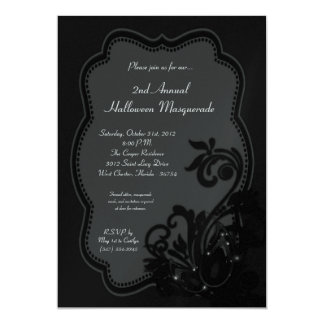 5x7 Black Masquerade Halloween Costume Invitation