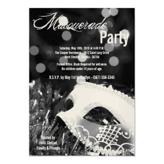 5x7 Black Masquerade Sweet 16 Birthday Invitation