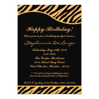 5x7 Black Tiger Print Birthday Party Invitation