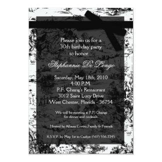 5x7 Black Toile Fabric Birthday Party Invitation