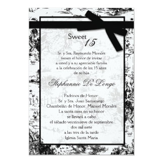 5x7 Black ToileFabric Quinceanera Invitation