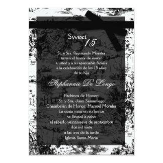 5x7 Black ToileFabric Quinceanera Party Invitation